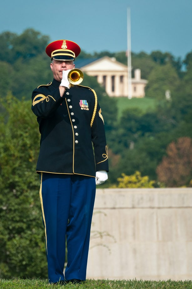 US Army Band Member on grounds that became court 9 | Arlington National Cemetery Media Photography | Arlington media, inc.