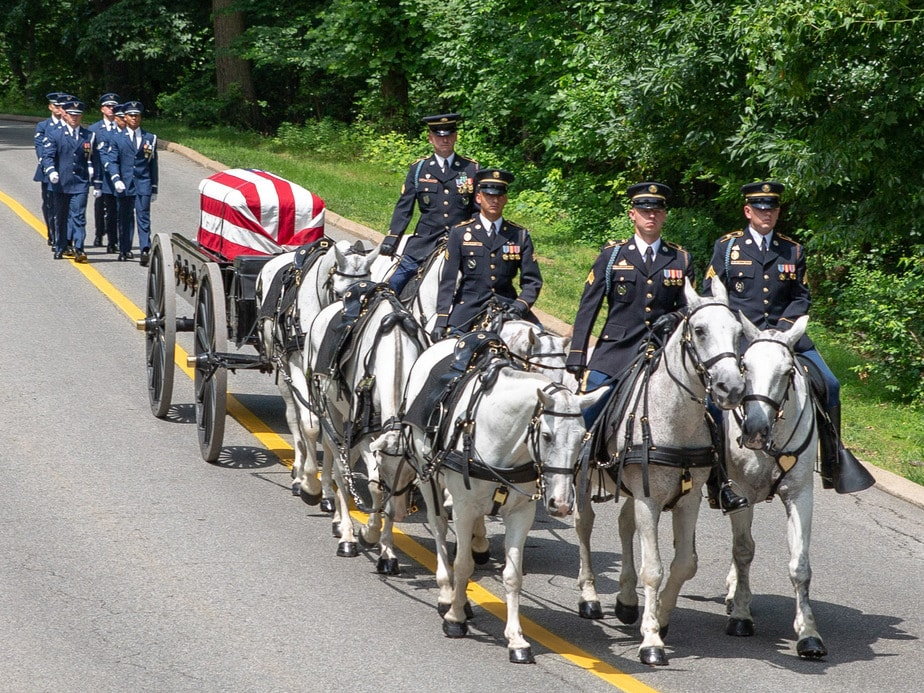 US Air Force escorts an Arlington Caisson | arlington cemetery funeral picture | Arlington media, inc.