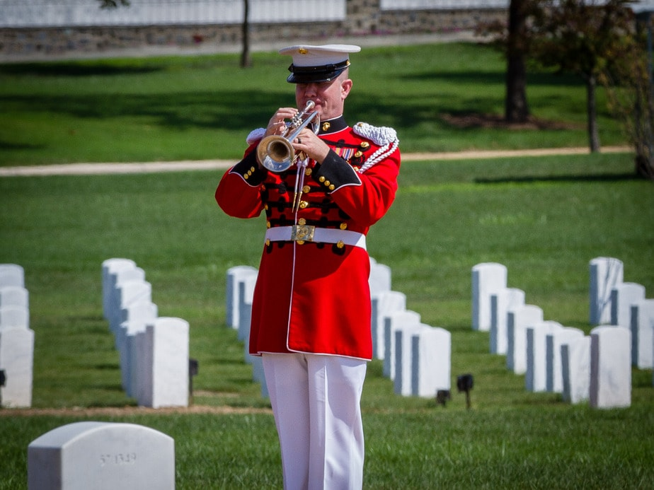 US Marine Bugler in Arlington National Cemetery Section 57 | Arlington media, inc.
