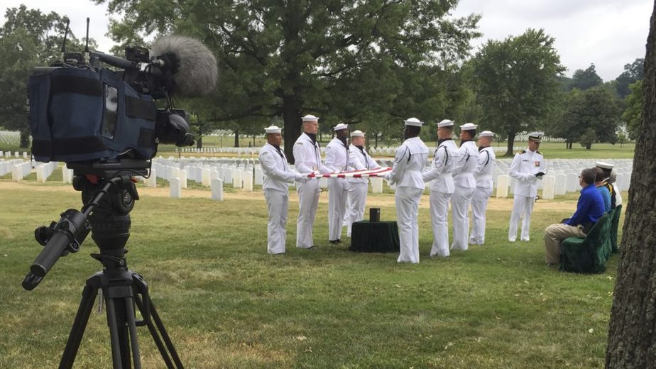US Navy Holding Flag | Covering a service in Section 55 with the US Navy in Arlington National Cemetery | video production arilngton | Arlington media, inc.